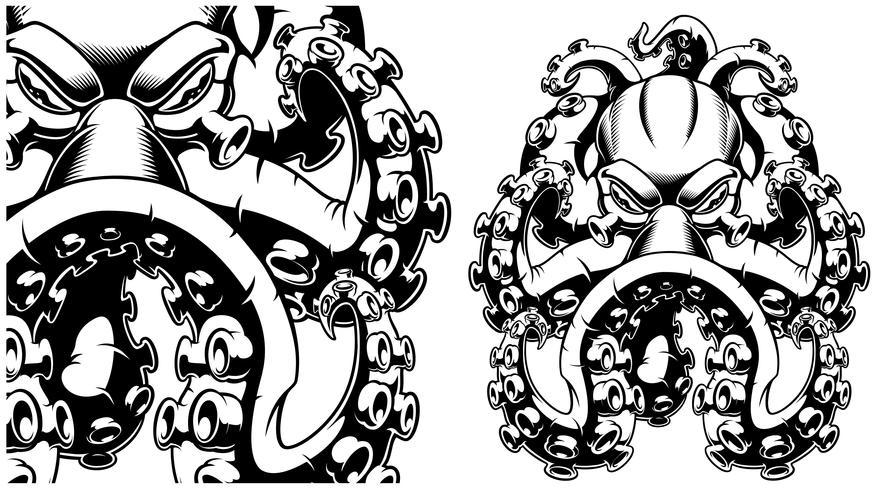 Vektorillustration einer Krake Schwarzweiss