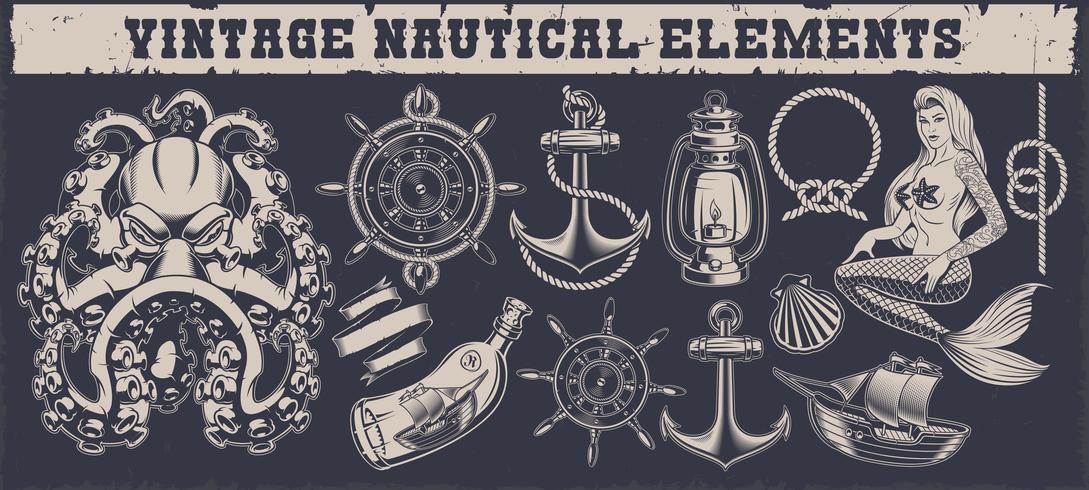 Set av en vintage nautiska element vektor