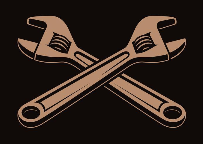 Ilustración vectorial de llaves cruzadas,