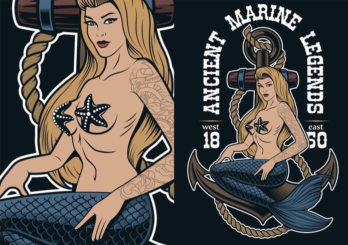 Färgglada illustrationen av sjöjungfrun på ankaren i tatueringstil.