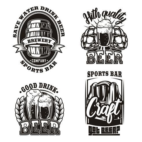 Définir l'illustration de la bière sur fond blanc
