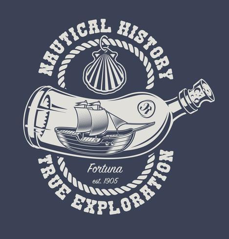 Ilustración de una botella con un barco y una concha.