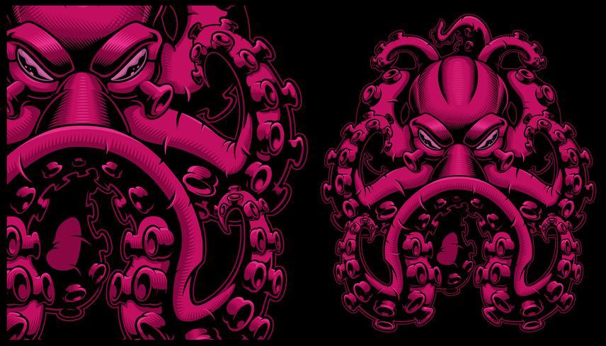 Vektor färgad illustration av en bläckfisk.