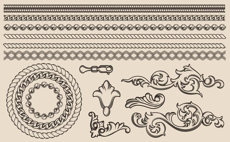 Conjunto de elementos vectoriales barrocos, cadenas para diseño.