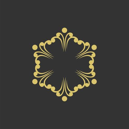 Projeto decorativo da ilustração do molde do logotipo da flor. Vetor eps 10