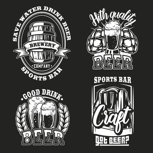 Set illustration of beer on dark background vector
