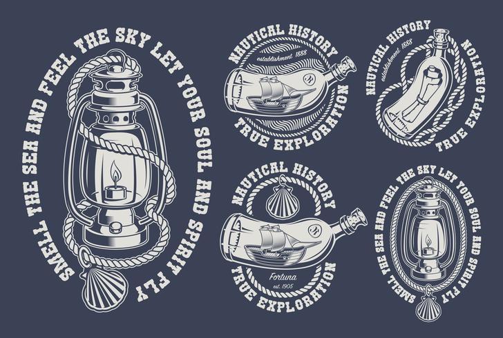 Ensemble d'illustrations marines vintage vecteur