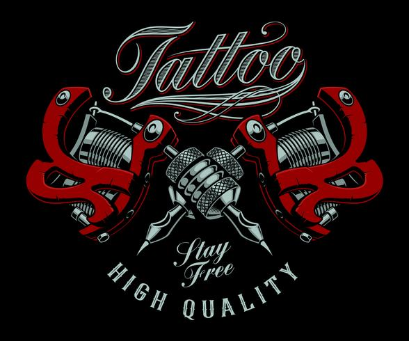 Tattoo Machien Etch Drawing: Vector Illustration Of Tattoo Machines