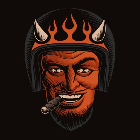 Vector Illustration of a Devil Biker