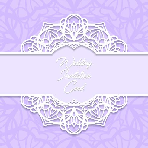 bröllop inbjudningskort pappersskuren design vektor