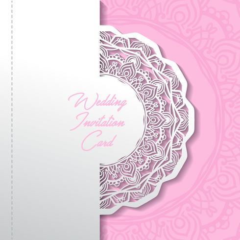 wedding invitation card paper cut design vector