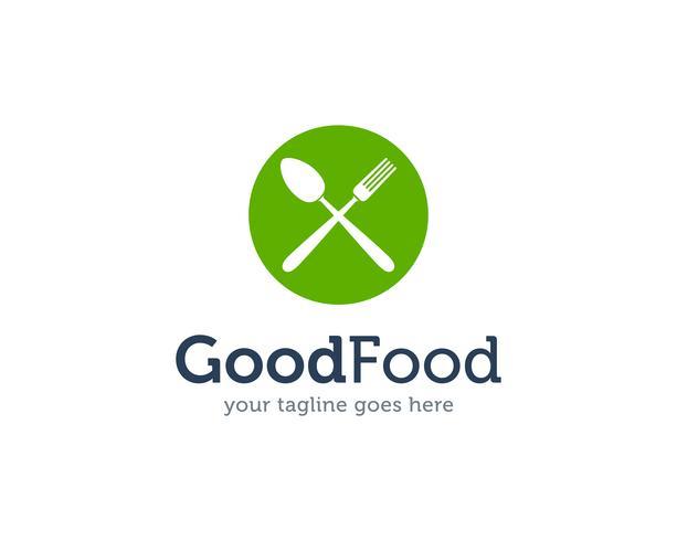 Boa comida colher garfo faca logotipo ícone Vector