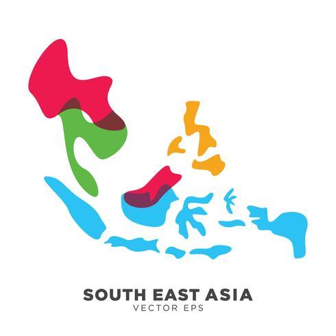 Creatieve Zuidoost-Azië Kaartvector, vectoreps 10 vector