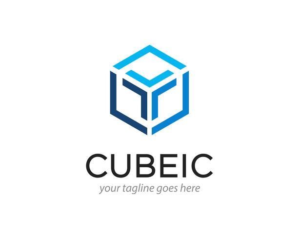 Diseño de logotipo abstracto cubo hexágono ilustración vectorial