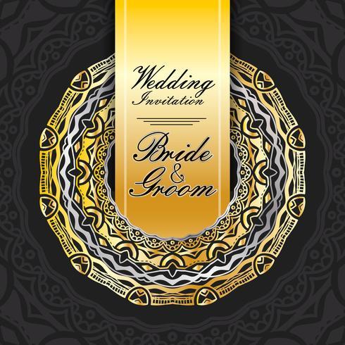 Tarjeta de invitación de boda papel cortado diseño vector