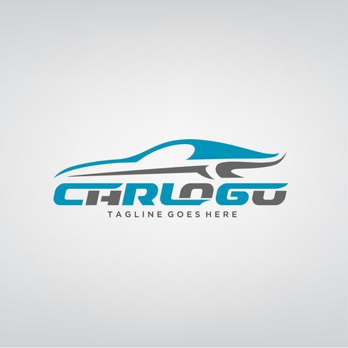 Diseño elegante del logotipo del coche azul vector