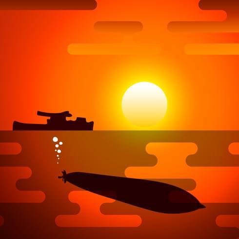 Silhouet van torpedo, de symboliseert van de oorlog.
