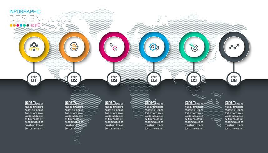 Circle label infographic with step by steps. vector