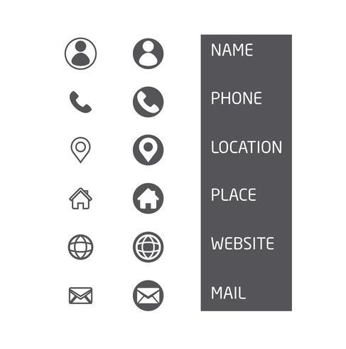 Set di icone del biglietto da visita. Simboli vettoriali minimi illustrazione - Vector