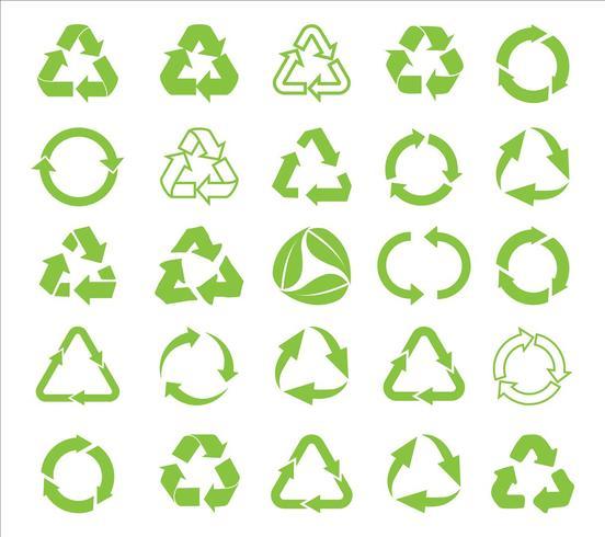 Recicle el icono del vector. Reciclar Reciclar conjunto símbolo ilustración - Vector