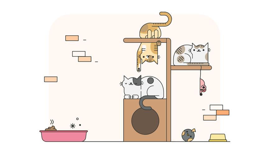 Juego de gatos vector