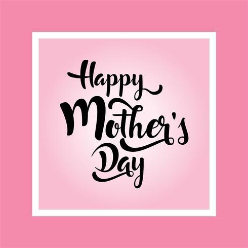 cartão do dia das mães. feliz dia da mãe s elegante caligrafia bandeira letras vector texto no fundo do quadro.