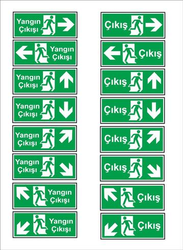 Turkish signage models, hazard sign, prohibited sign, occupational safety and health signs, warning signboard, fire emergency sign. for sticker, posters, and other material printing. easy to modify. vector. vector