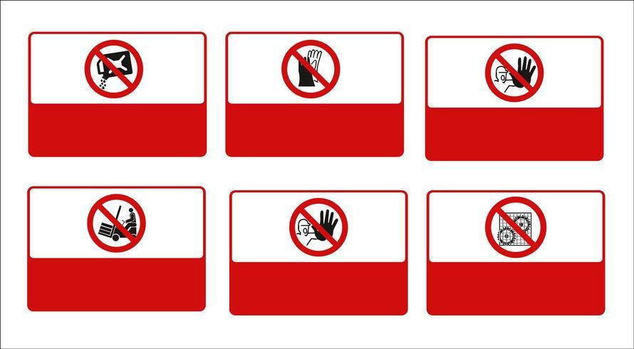 set di segno obbligatorio, segnale di pericolo, segno proibito, segni di sicurezza e salute sul lavoro, cartello di avvertimento, segno di emergenza antincendio. per adesivi, poster e altri materiali di stampa. facile da modificare. vettore.