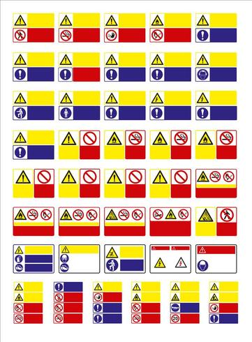 set of mandatory sign, hazard sign, prohibited sign, occupational safety and health signs, warning signboard, fire emergency sign. for sticker, posters, and other material printing. easy to modify. vector.