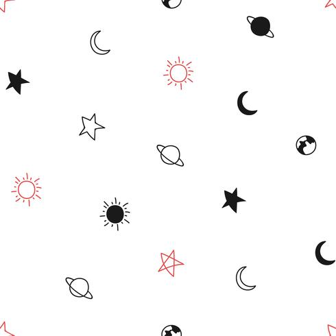 Doodle of planet collection seamless background  Vector