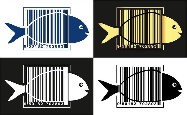 Visembleem, vis in streepjescode over zijn lichaam. Vector illustratie.