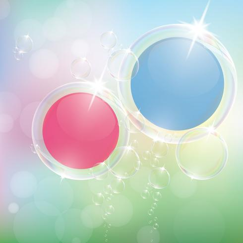Des bulles de savon réalistes avec la réflexion de l'arc-en-ciel défini illustration vectorielle eps10 isolé.