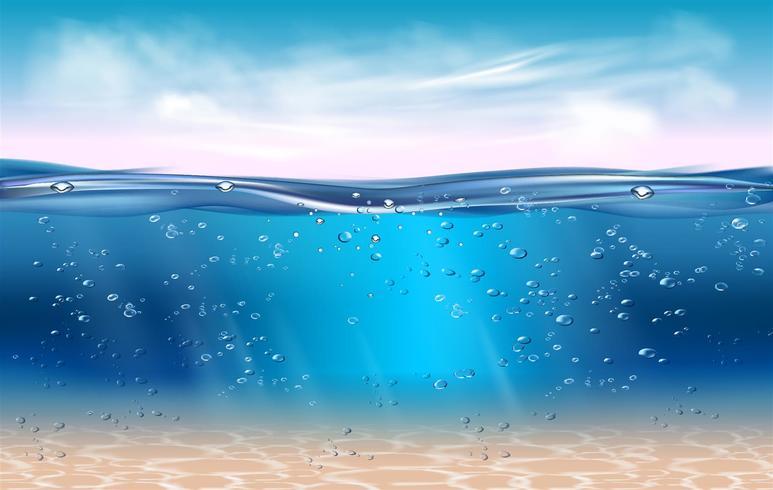 Fondo sottomarino realistico. Oceano acque profonde, mare sotto il livello dell'acqua, raggi del sole blu onda orizzonte. Concetto di vettore di superficie 3D acqua