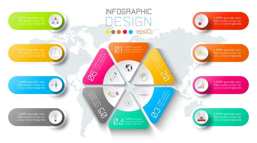 Infographic zaken op de achtergrond van de wereldkaart met 8 etiketten rond hexagon cirkel. vector