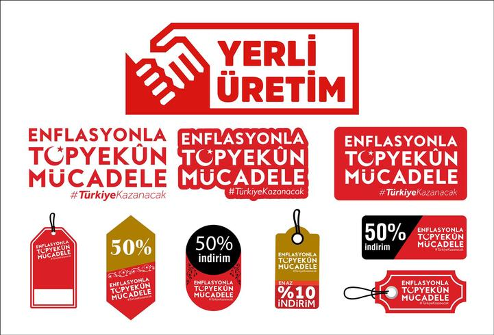 Yerli uretim. Enflasyonla topyekün mücadele .Translation: Inhemsk produktion av Turkiet. Vector logo - Vektör