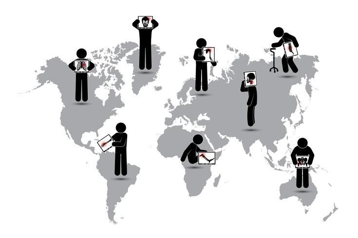 Pantalla de monitor de palo de hombre: muestra el esqueleto, mapa del mundo (concepto de salud mundial) (tuberculosis pulmonar, artritis, espondilosis cervical, espondilolistesis lumbar, escoliosis, accidente cerebrovascular) vector