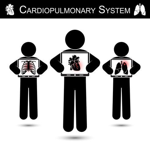 Herz-Lungen-System. Human Hold Monitor Screen und Show Imaging von Skelett (Brustverletzung), Herz (Myokardinfarkt), Lunge (Lungentuberkulose) (CPR-Konzept)