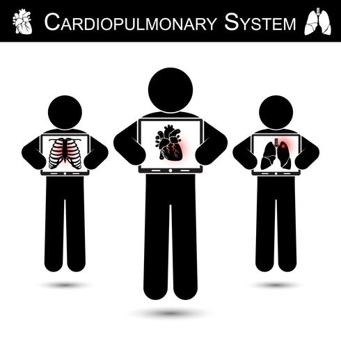 Cardiopulmonaal systeem. Human hold monitorscherm en weergave van skelet (borstletsel), hart (myocardiaal infarct), long (pulmonale tuberculose) (CPR-concept) vector