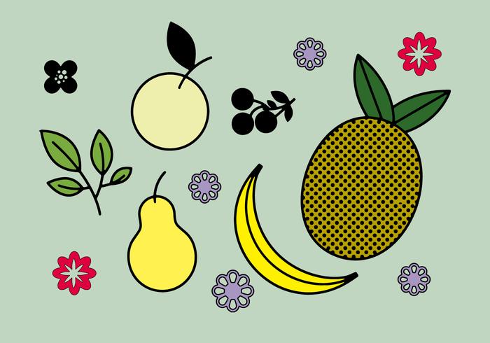 Freier Obst- und Blumenvektor