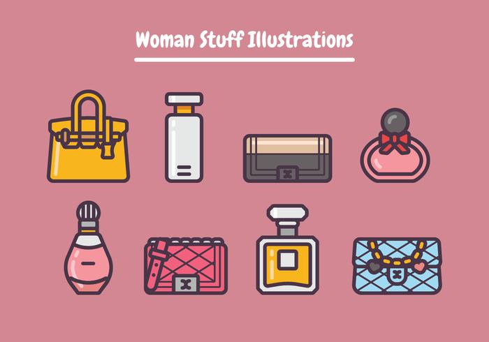 Ilustración de cosas de mujer vector