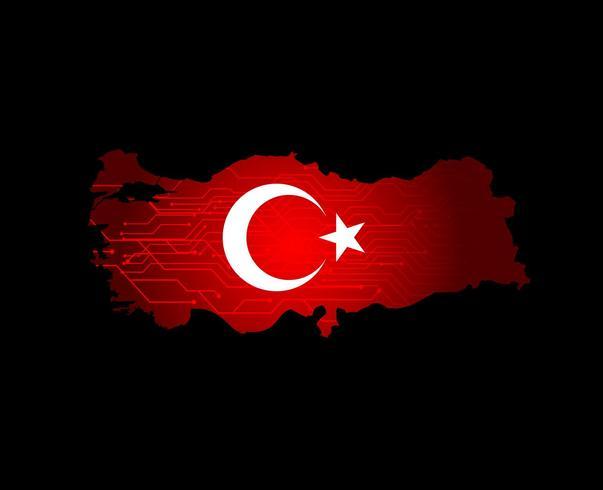 Mapa da Turquia com a bandeira. país do peru do mapa da bandeira no fundo digital. Vetor.