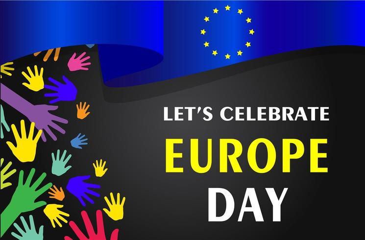 Giornata dell'Europa. Festività annuali a maggio. È il nome di due giorni annuali di osservanza - il 5 maggio dal Consiglio d'Europa e il 9 maggio dall'Unione europea. Poster, carta, banner e sfondo. Vettore - Vektör