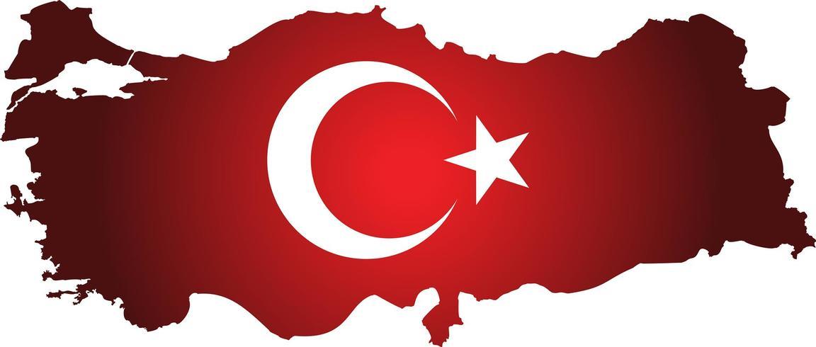 Turkije kaart met vlag. vlag kaart Turkije land op digitale achtergrond. Vector.