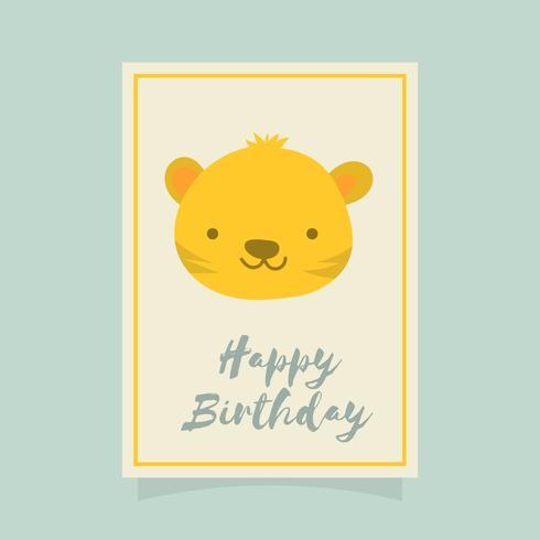 Plano lindo tigre feliz cumpleaños Animal saludos Vector plantilla