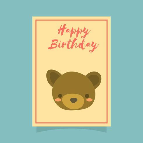 Platte schattige beer Happy Birthday dierlijke groeten Vector sjabloon