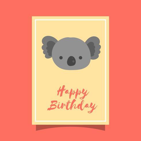 Flat Cute Koala Birthday Animal Greetings Vector Template