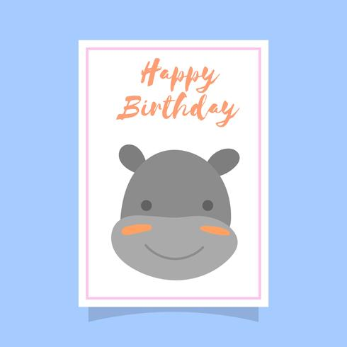 Flat Cute Hippopotamus Birthday Animal Greetings Vector Template