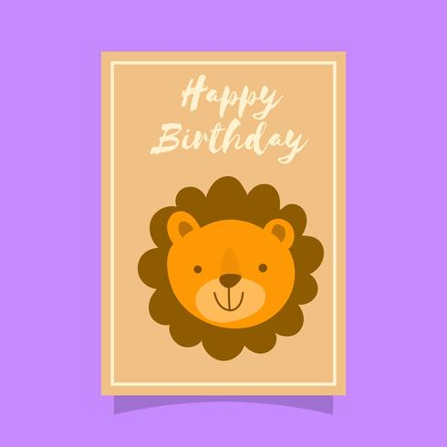 Flacher netter Lion Birthday Animal Greetings Vector Template