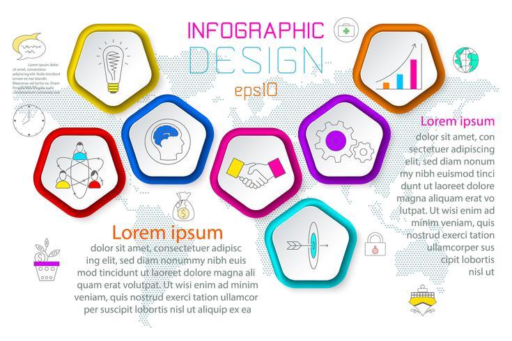 Pentagons labelen infographic met 6 stappen.