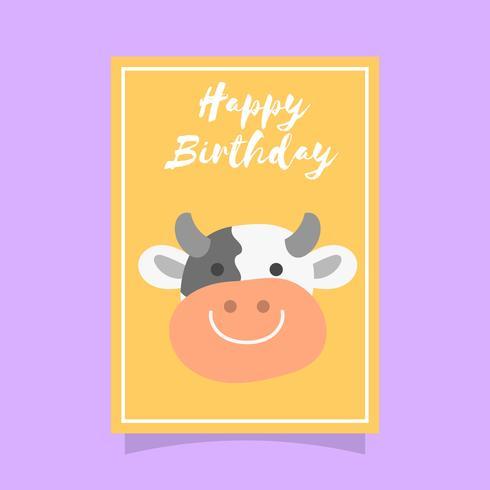 Platt söt ko födelsedag djur hälsningar vektor mall